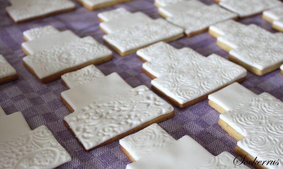 tutorial - lace wedding cake cookies