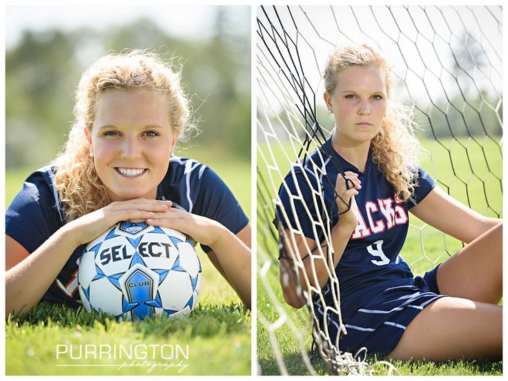 High school senior pictures photography with soccer ball and blue uniform with soccer ball and net. Pose poses idea ideas © Purrington Photography www.PurringtonPhotography.com Bemidji Northern Minnesota MN Senior Portrait Photographer