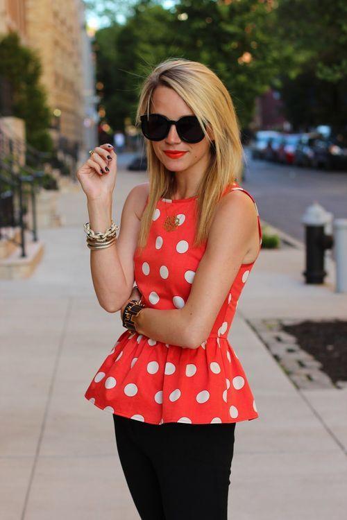 polka dots, black, lipstick