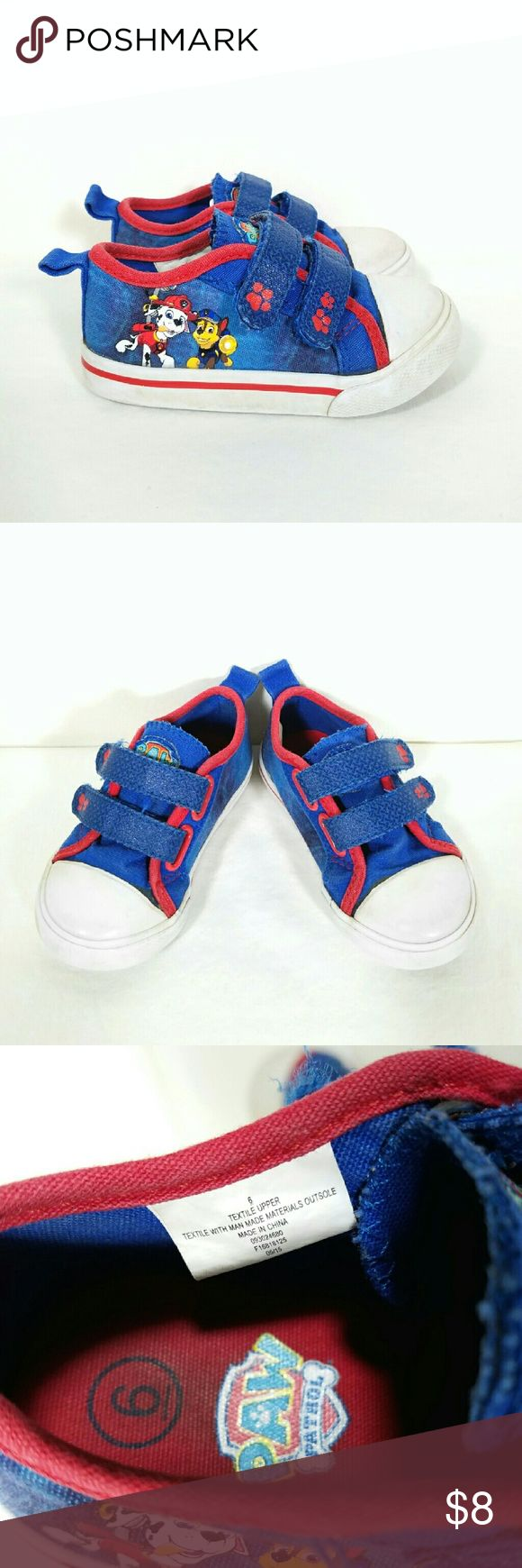 Paw Patrol velcro toddler sneakers * Prices are negotiable  :) * Bundle to save! Paw Patrol toddler canvas tennis shoes. Double velcro top closure. Round toe. Picture of Chase and Marshall on outer sides of shoes. - Brand: Nickelodeon  - Size Walker 6. These run about a half size small and best fit size 5-5.5. - Color: Blue with red trim. White soles.  - Textiles and man-made materials  - Good condition. Some wear to color from laundering. A little dirt in soles which can be scrubbed off…