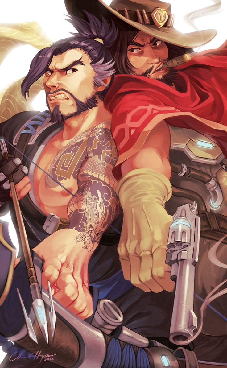 """etherelle-art: """" """"""""Huh ho, excuse me."""" - McCree """" I imagine that these boys would probably bump into each other and try to steal each other's kills all the time. More like, McCree would start it, Hanzo would get upset and offended, try to do it back..."""