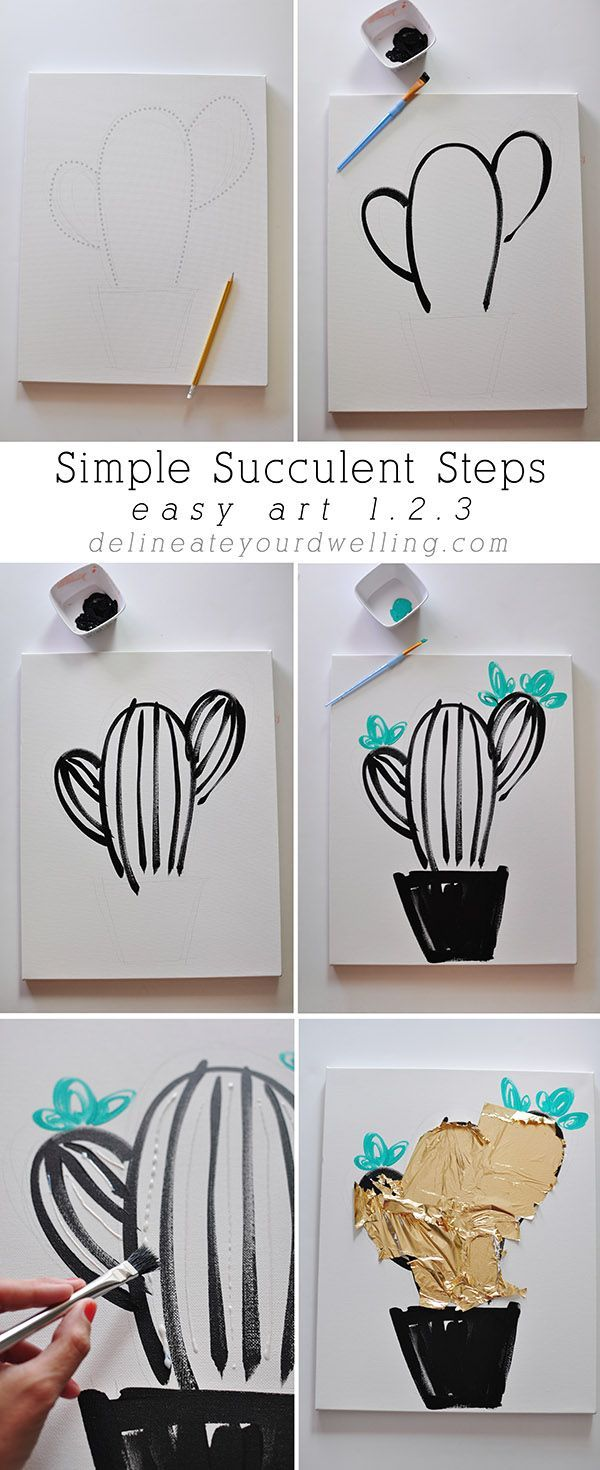 Easy Art in 1.2.3 : How to paint Simple Succulent and Cacti! Delineateyourdwel...