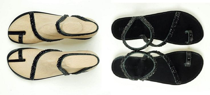 Leather Sandal with Black Strass