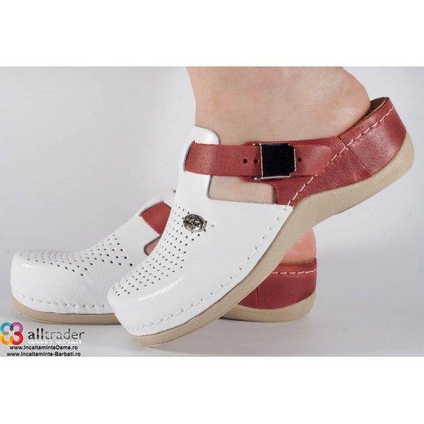 Saboti/Papuci albi cu rosu din piele naturala dama/dame/femei (cod 901)