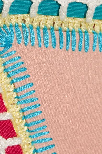 Kiini - Luna Crochet-trimmed Triangle Bikini Top - Beige - x large