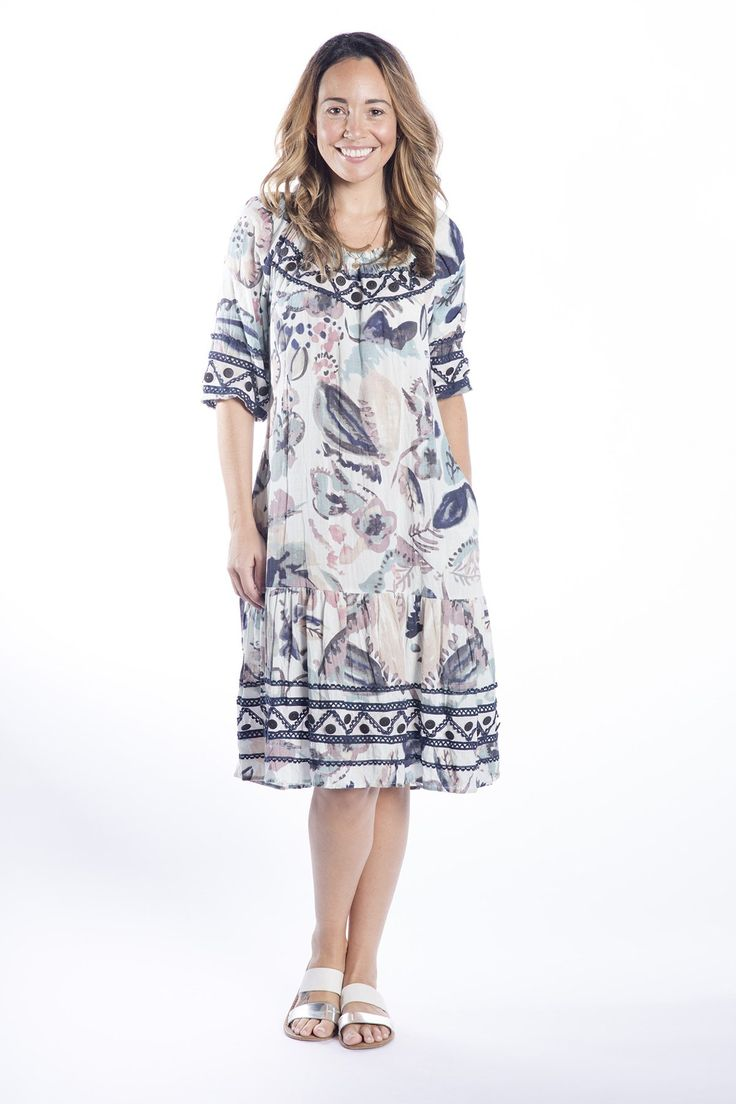 Cafe Latte - Abstract Print Off The Shoulder Dress - Clw780