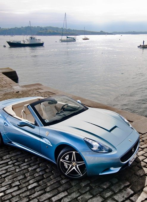 Gorgeous Baby Blue Ferrari California. Stunning Backdrop!