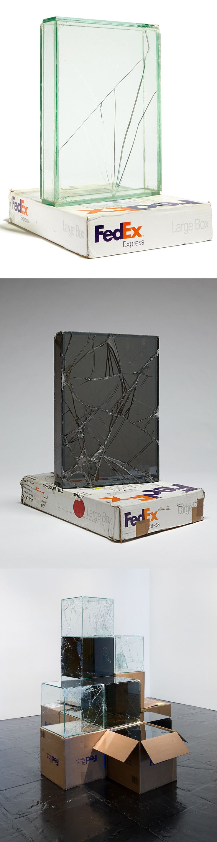 Artist Walead Beshty Shipped Glass Boxes Inside FedEx Boxes to Produce Shattered Sculptures