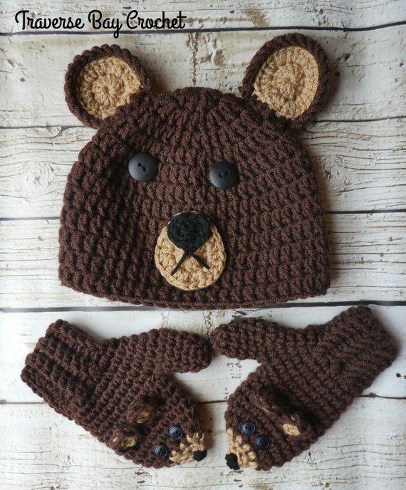 Child bear hat   mitten set crochet pattern PDF Instant Download Gift  Present 0631de6c7211