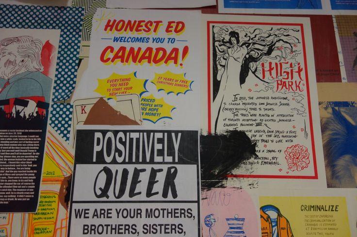 Posters in the OCADU printmaking department. OCADU Book Arts Fair, December 10, 2016. Photo by Don McLeod.