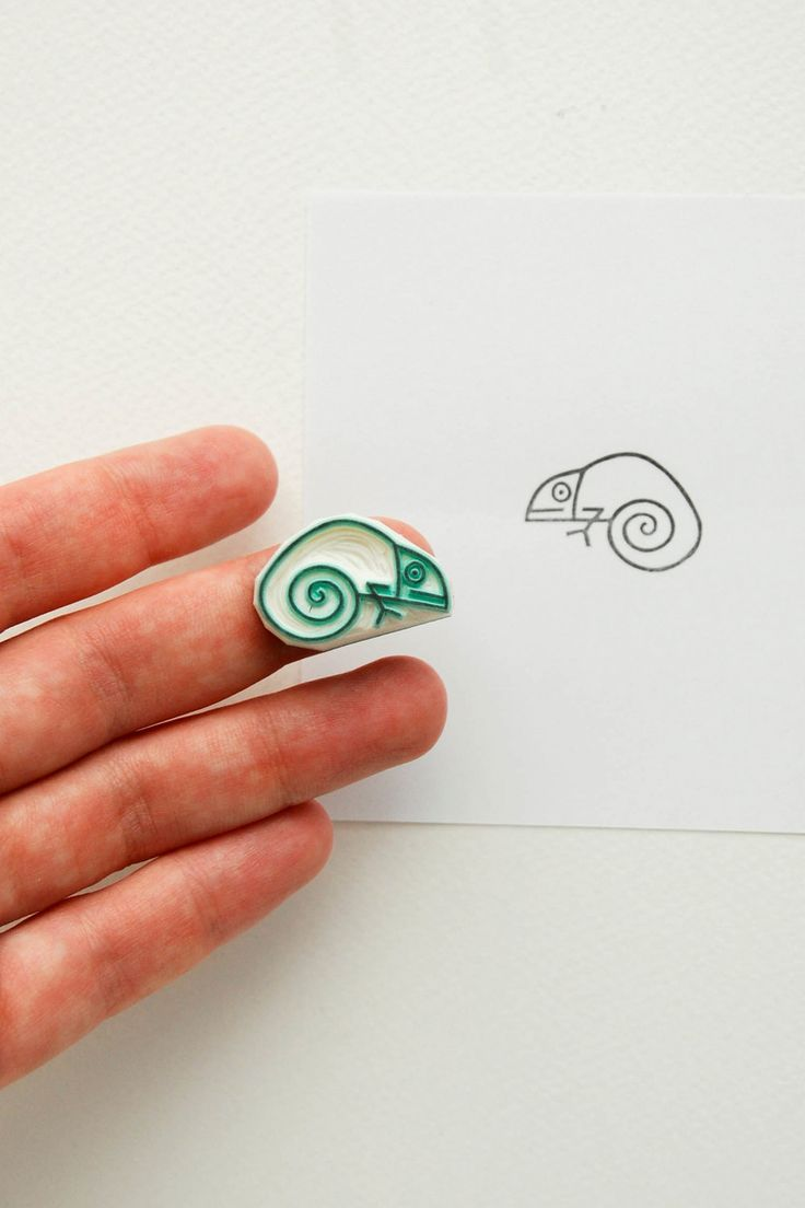 Chameleon stamp, hand carved stamp, baby chameleon, mini stamps, best friend gift, funny gifts, cute stationary