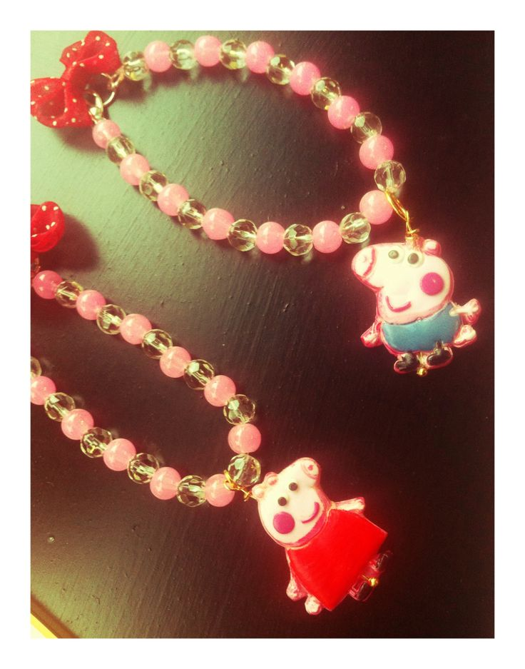 Peppa and George bracelets Fimo creation by My Fairy Cakes