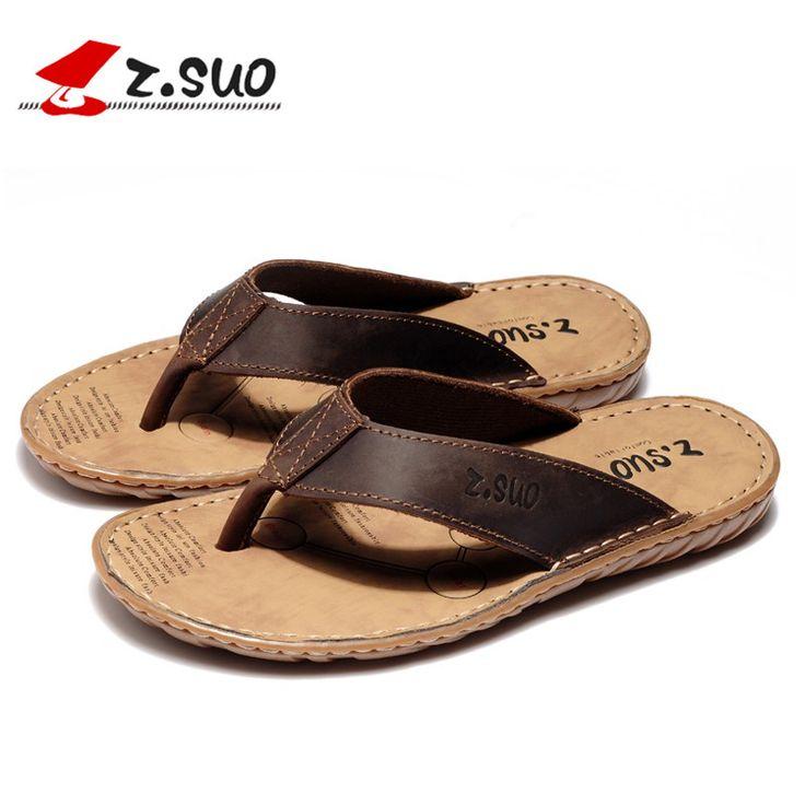 Big Size 39-47 Real Leather Men Flip Flops Summer Sandals Men's Brand Designer Slippers For Seaside Beach Casual Walking Sildes