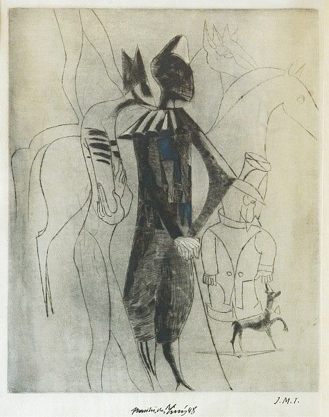 František Tichý: Capriccio II / 1948 drypoint on paper / 47 x 38.1 cm