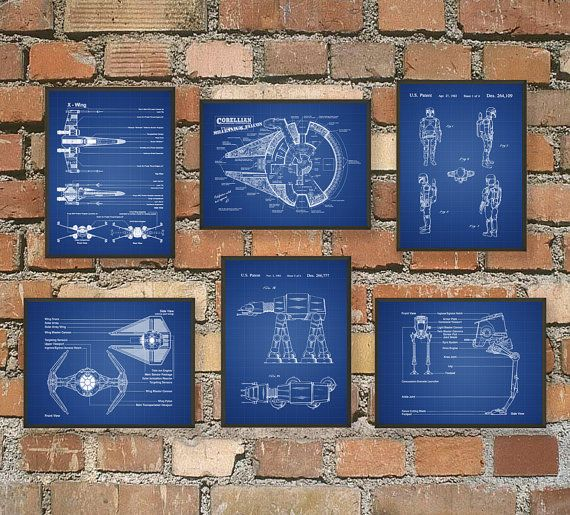 Ultimate Star Wars Print Set Of 6 - Star Wars Spacecraft - X-Wing - TIE Fighter - AT AT - Boba Fett - Star Wars Decor - Science Fiction Gift  This