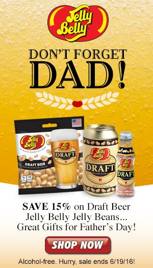 Jelly Belly Draft Beer jelly beans  make a great gift for Dad this Father's Day. Save 15% on these unique gifts for Dad only at JellyBelly.com through 6/19/16!