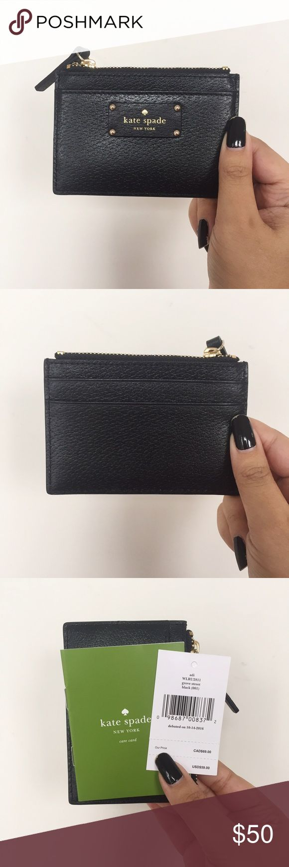 🔵 Kate Spade NY Card Holder- Black NWT Black card holder with gold detailing from Kate Spade NY. It has three slots (one in the front, two in the back) and a zippered pocket. It's super cute and perfect for a night out to throw in a clutch without having to carry an actual wallet. Great gift or stocking stuffer for this Christmas! Any questions, please don't hesitate to ask me! (Price is negotiable, please use the offer button. No lowballing) kate spade Accessories Key & Card Holders