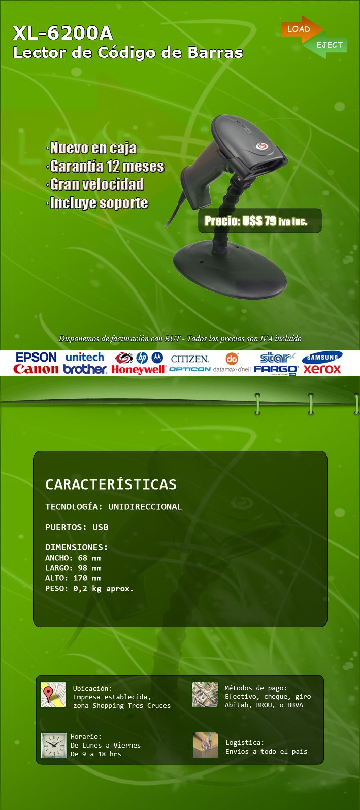 Lector Codigo De Barras Xl6200a - U$S 79,00 en MercadoLibre