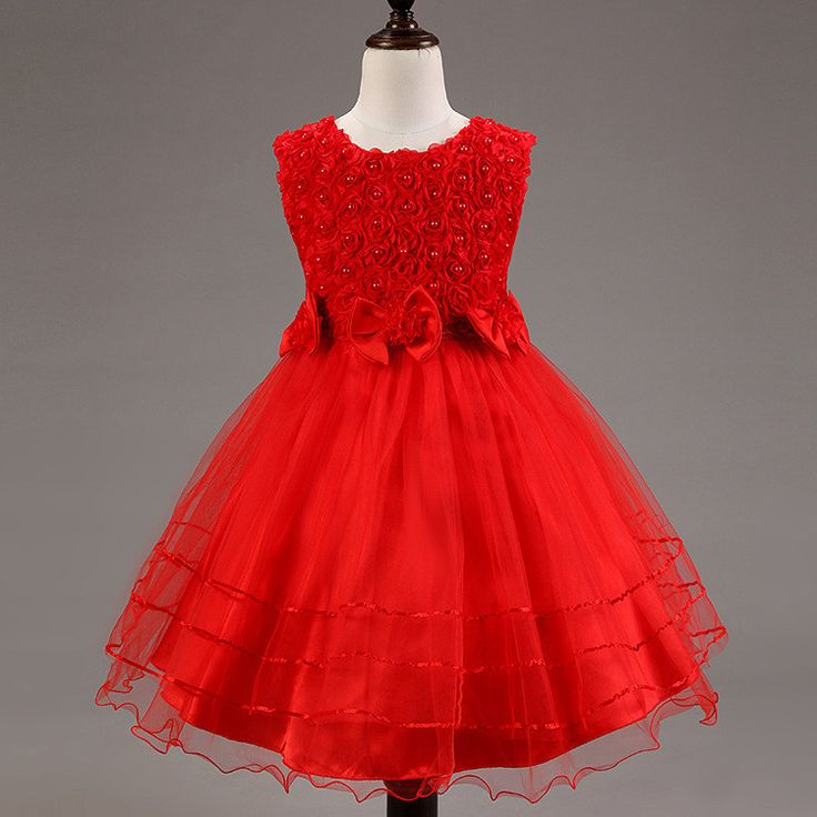 Floral, Flower and Lace Formal Dress - Red