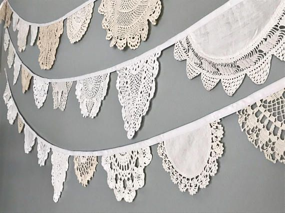 Doily Bunting Banner  Vintage Doily Garland  Lace Wedding