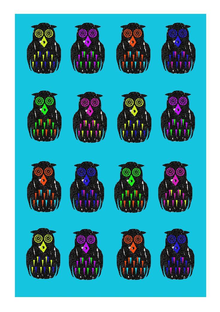#illustration #print #pattern #owls #colour