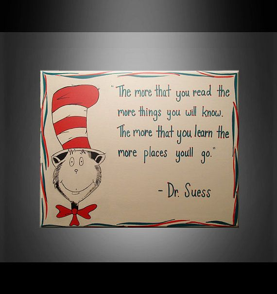 cat in the hat dr suess quote painting white red by
