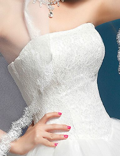 Vestido de Noiva - Branco Trapézio Sem Alças Cauda Catedral Organza – BRL R$ 495,26