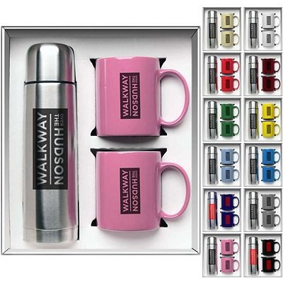 Awesome Gift Set! Say Thanks and Show them Apprecition at Thanksgiving Time! Promotional 3-Piece Hampton Mug and Thermos Gift Set   Customized Drinkware Gift Sets   Promotional Drinkware Gift Sets