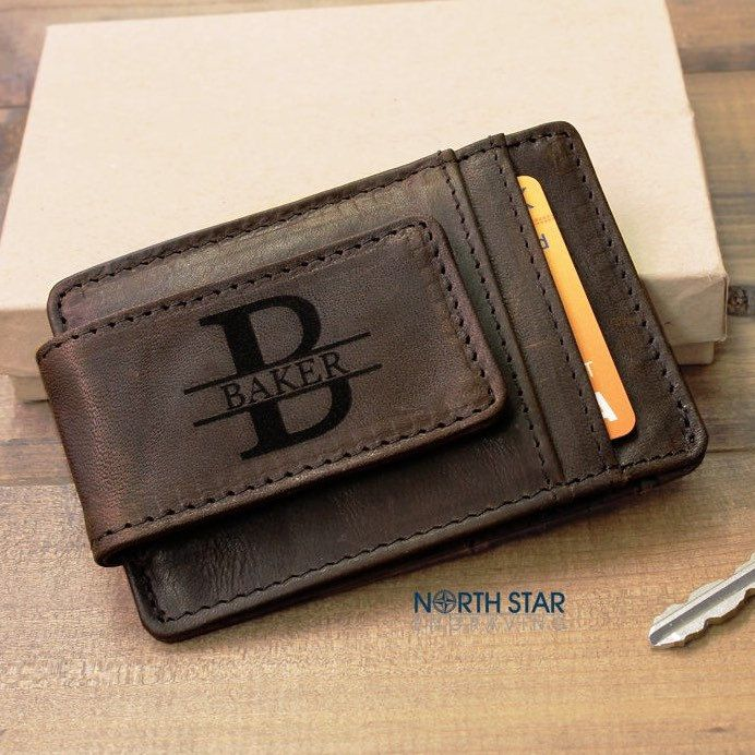 Mens genuine leather money clip! Personalized gift for any occasion! Comes in a gift box.