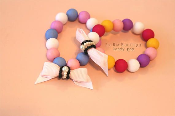 Toddler Sweet candy pop bracelet.    Check out this item in my Etsy shop https://www.etsy.com/uk/listing/536038409/toddler-candy-pop-bracelet-pink-bow-cute