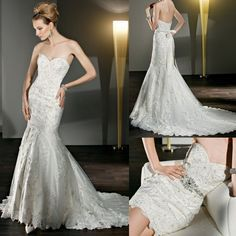 Beaded Strapless Sweetheart Mermaid Lace Convertible Wedding Dress Two Piece White
