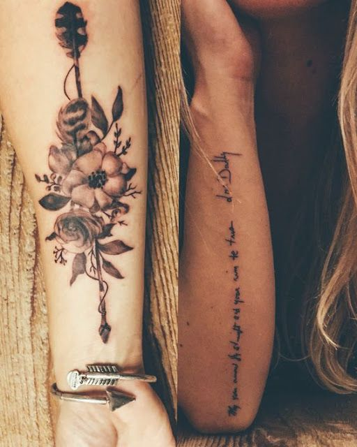 Awesome Arrow with Flower Tattoo Designs