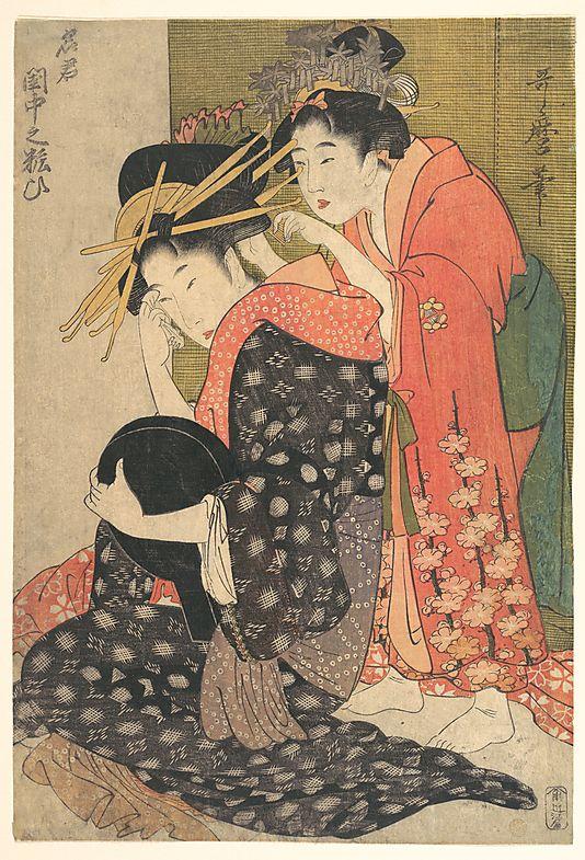 The Oiran Yoso-oi Seated at Her Toilet  Kitagawa Utamaro  (Japanese, 1753–1806)  Period: Edo period (1615–1868) Date: ca. 1799