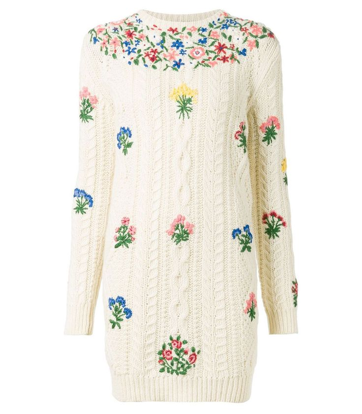 Valentino Floral Embroidered Knit Dress