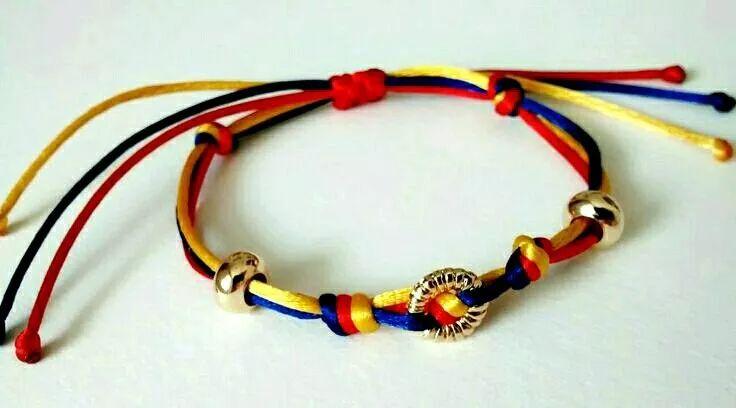 pulsera tricolor bandera venezuela aro goldfilled