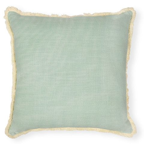 Finn Mint Solid Cushion 50 cm cotton with neutral fringing