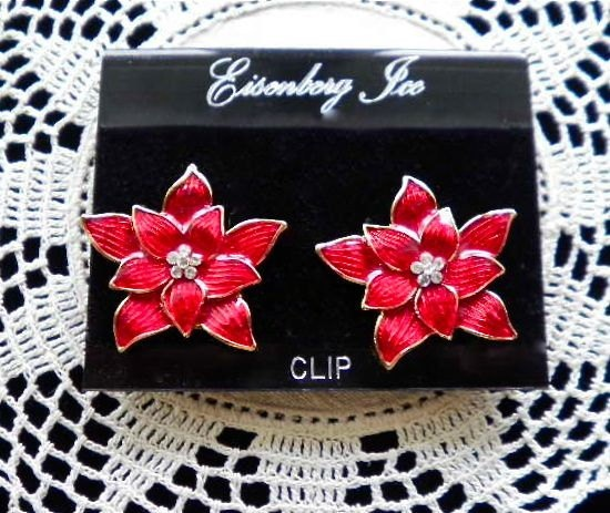 Marked EISENBERG ICE Red Enamel Poinsettia Clip by JoolsForYou SOLD OUT Thank You!Fashion, Enamels Poinsettia, Ice Red, Joolsforyou Sold, Vintage Jewelry, Red Enamels, Poinsettia Clips, Mark Eisenberg, Eisenberg Ice