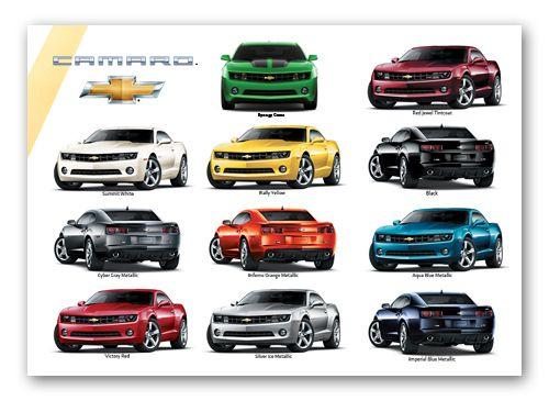 Camaro Exterior Colors Art Poster | Chevrolet Posters ...