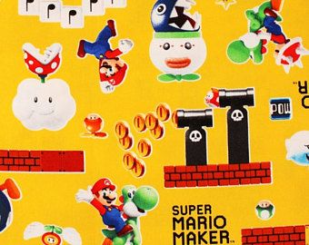 """Nintendo Super Mario Character Oxford Fabric made in Japan FQ 45cm x 53cm or 18"""" x 21"""""""