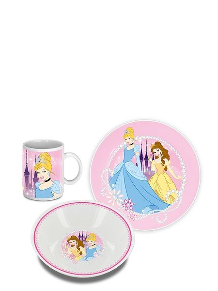 Keraaminen Prinsessat-aamiaissetti sisältää mukin, leipälautasen ja syvän lautasen, josta voi popsia vaikka muroja. Se sopii oivasti jokaiselle prinsessa-fanille!
