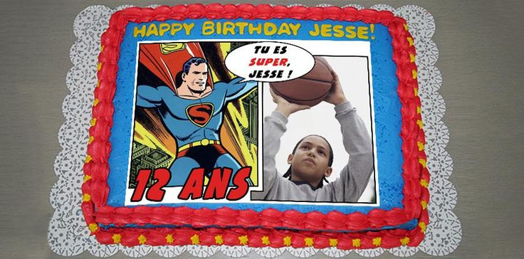Comment décorer le gâteau d'anniversaire de son enfant avec originalité? Peut-être tout simplement avec une photo Gâteau Montage BD dés 12,90 e