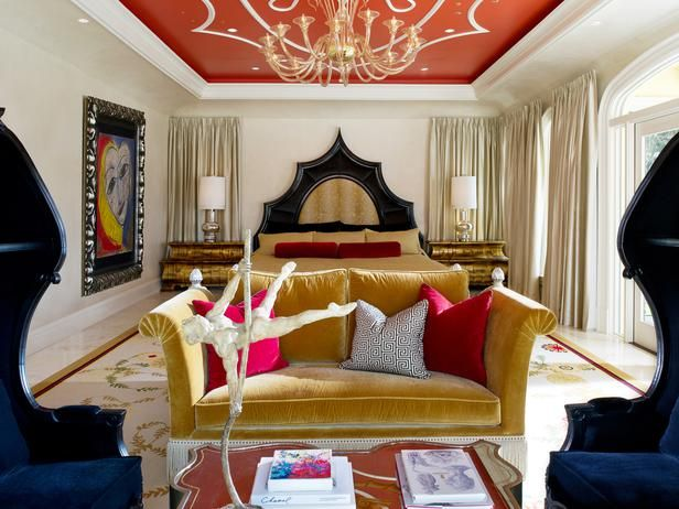 Are you bold enough to paint the ceiling? Here, designer Troy Beasley added a bright paprika hue.  (http://www.hgtv.com/designers-portfolio/room/eclectic/bedrooms/7751/index.html?soc=Pinterest)