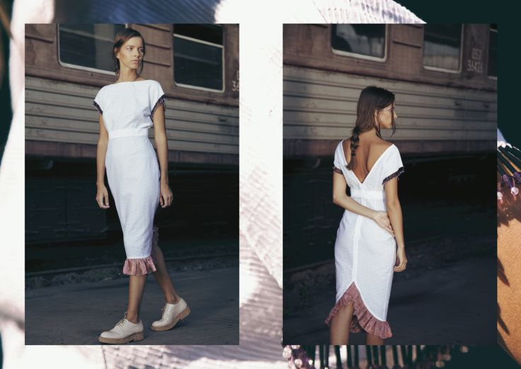 ANOUKI | White textured cotton dress with open back, hand-embroideries on the arms and organza.  DETAIL