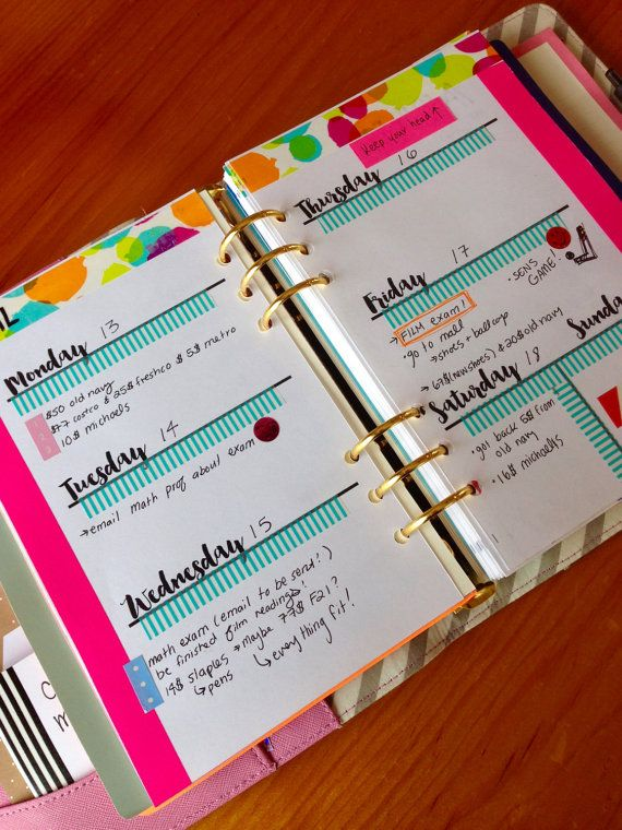 Printed - LARGE A5 WEEKLY INSERTS - Planner inserts for A5 Planners Filofax A5 or Large Kikki K