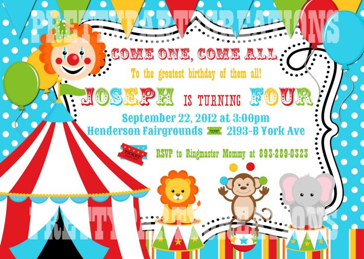 17 Best ideas about Circus Birthday Invitations on Pinterest ...