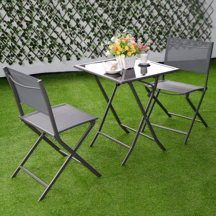 Furniture Patio Outdoor Garden Folding Bistro Set 3 Piece - Patio & Garden Furniture Sets