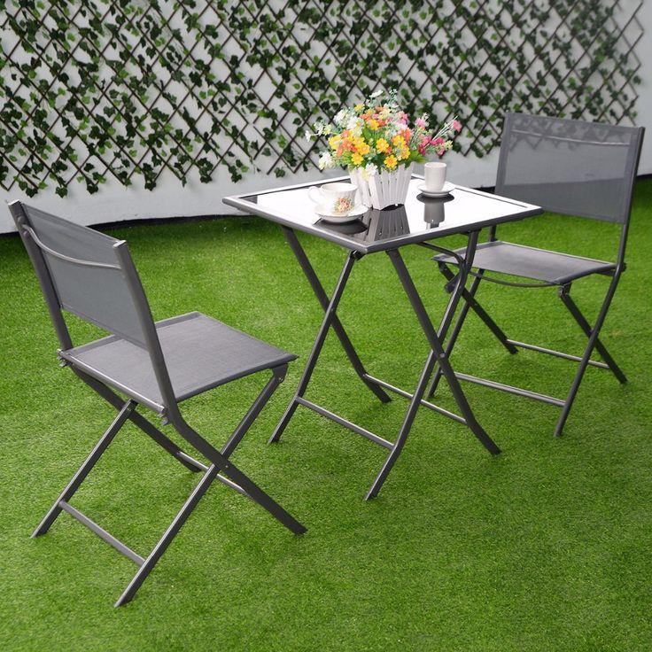 Furniture Patio Outdoor Garden Folding Bistro Set 3 Piece - Patio & Garden Furniture Sets