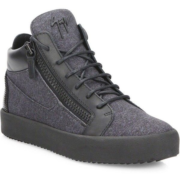 Giuseppe Zanotti Neoprene Double-Zip Mid-Top Sneakers ($695) via Polyvore featuring men's fashion, men's shoes, men's sneakers, grey, men's shoes - designer shoes, giuseppe zanotti mens sneakers, mens grey sneakers, mens gray dress shoes, giuseppe zanotti mens shoes and mens shoes