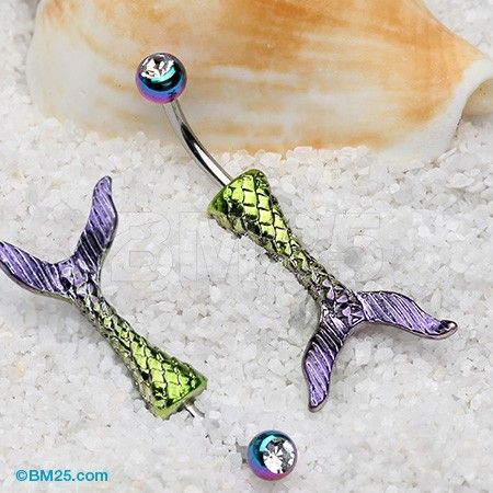 Mystic Rainbow Mermaid Tail Belly Button Ring
