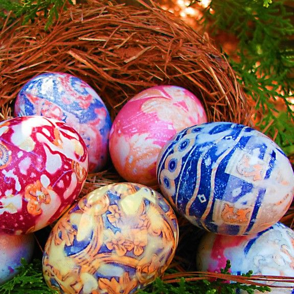 """Tutorial on """"tie-dying"""" eggs for easter using old 100% silk ties (or scarves, etc... anything made from 100% silk...)"""